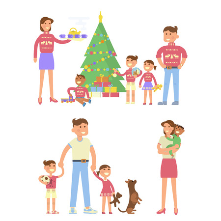 Happy family concept in Flat design, Christmas Eve, mother, father, children, son, daughter and baby in the same pullover with deer. Christmas tree, gifts. Cartoon characters, illustration vector Illustration