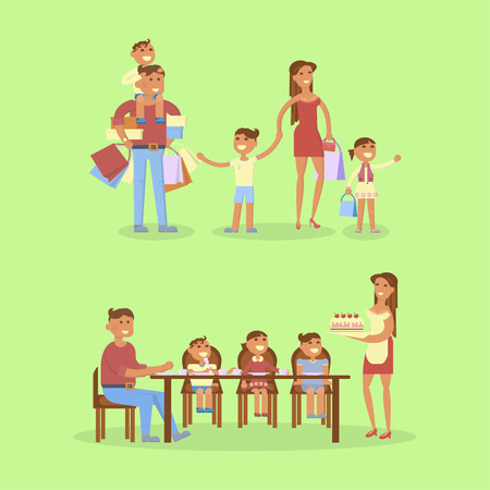 mom and dad: Set of big Family portrait. Shipping and dinner. Mom, dad, son, daughter and baby. Vector flat illustration. Illustration