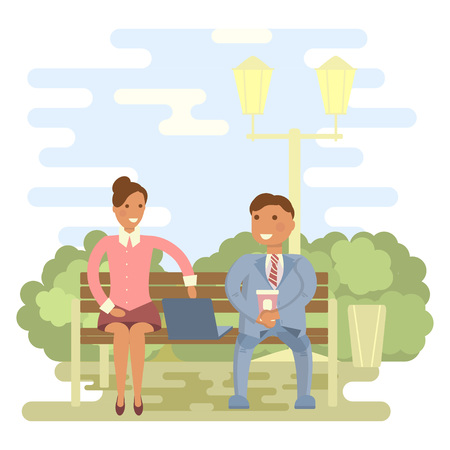 talking: Couple outdoors in summer on a park bench. Cartoon character of men and women, people talking and chatting, office people in flat design. Illustration