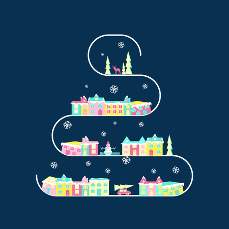 Winter village, rural landscape on christmas tree branch. Xmas icon set in flat design. Congratulation card. Illustration