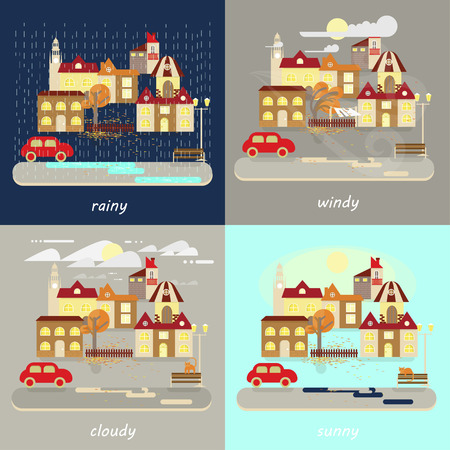 Four types of different autumn weather colorful landscape icons - rainy, windy, cloudy, sunny. Small town landscape in flat style. Vector illustration