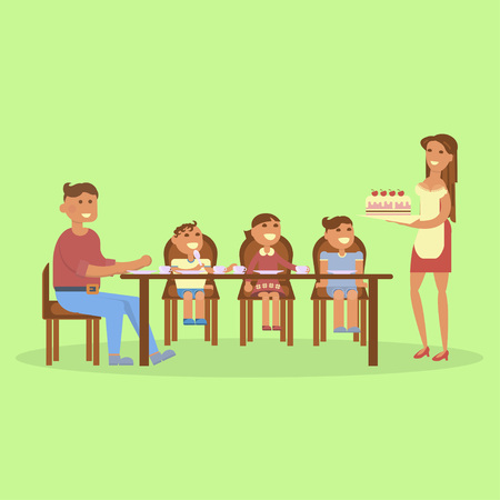 Set of big Family portrait. Tea time or dinner for Mom, dad, son, daughter and baby. Vector flat illustration.
