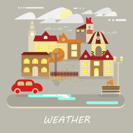 small town: Autumn weather colorful landscape banner. Its cloudy, sunny. Small town landscape in flat style. Vector illustration
