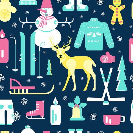 luge: Seamless pattern with unique winter icons illustrations. Collection with snowman, Christmas bell, reindeer, skiing, luge, skating, snowflakes and other. Vector elements for banner design of seasonal sell.
