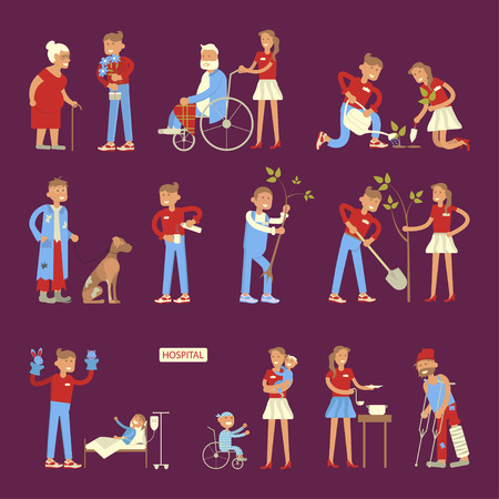 welfare plant: Set of volunteers characters in flat design. Young people planted plants, trees,  helping ill kids and seniors, feeding homeless men.