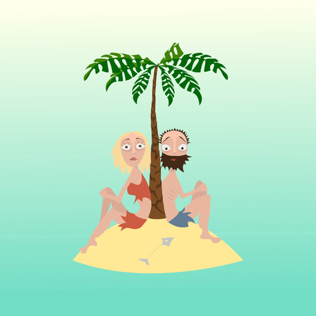 desert island: Hungry man and woman on a desert island after shipwreck
