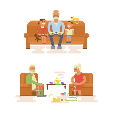 Grandparents sitting in chair. Grandpa reading a book to grandsons. Cartoon characters in flat design.