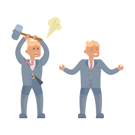 oneself: Businessman in stress and relax. Beside oneself with rage, Yoga, Concept of Stressed office manager. Headache Problem Concept Negative Emotion Office Flat Vector Illustration