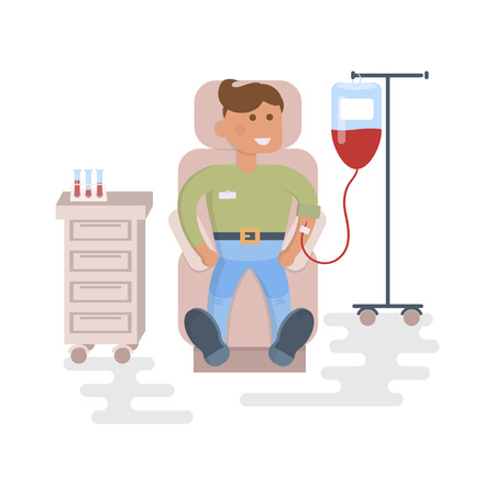 Happy people concept. Young man donates blood. Flat style cartoon vector illustration with isolated characters isolated on white background. Illustration