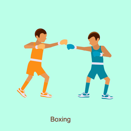 Sport people activities, boxing icon isolated, two boxers on squared ring Illustration