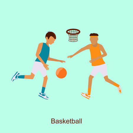 jump shot: Basketball Players 2016 Summer Games in modern flat design.  Isolated  composition of Sporting Championship International Basketball Match Competition. Square banner abstract.