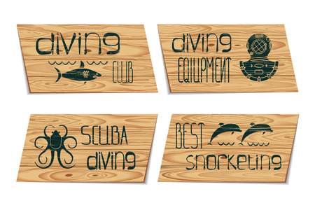 deep sea diver: Set design scuba diving and snorkeling with octopus, shark, dolphin, helmet on signboard wood texture