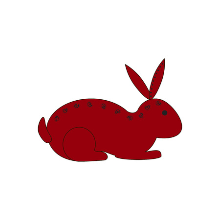 year of the rabbit: Chinese zodiac symbol red rabbit or hare made by traditional Chinese paper cut arts. Isolated on white background. Horoscope for red year. Vector es10 illustration. Illustration