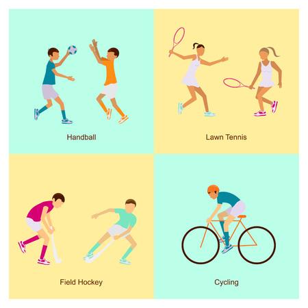 terrain de handball: Sport personnes icons set handball, tennis de pelouse, hockey sur gazon, le cyclisme