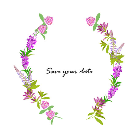 alfalfa: Frame from wild flowers for save a field day, wedding or birth data.
