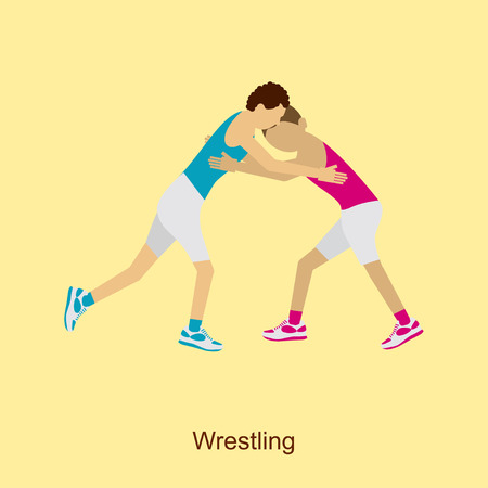 Sport people activities icon Wrestling Greco Roman isolated. Athletes on Summer Games in modern flat design. Sporting Championship International Competition. Vector Illustration eps10