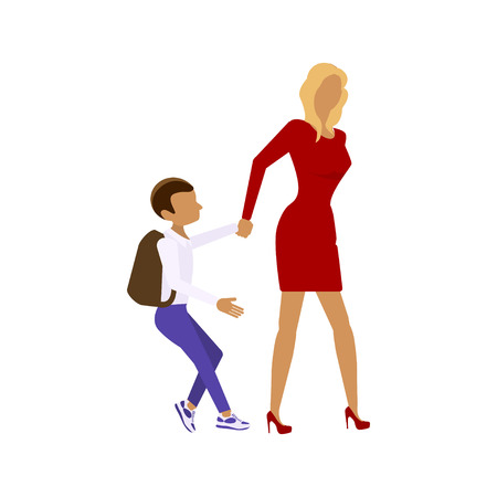 child walking: Back to school concept. Flat style vector isolated illustration of school building, with mother and student child walking to school.