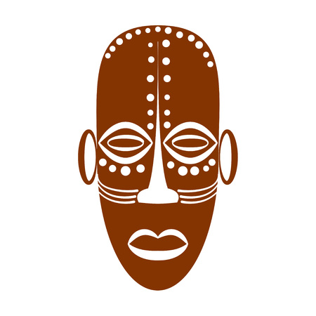 ritual: African Ethnic Tribal mask on white background. Flat icons. Ritual symbols. Illustration