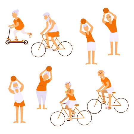 retiree: Elderly people doing exercises in different poses. Healthy lifestyle, active lifestyle retiree. Sport for grandparents, elder fitness and cycling for Seniors isolated on white background.  Vector illustration eps10