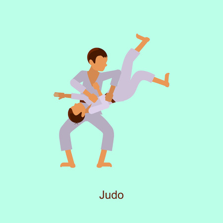 Sport people activities icon Judo isolated. Summer Games in modern flat design. Sporting Championship International Competition.