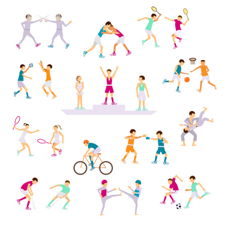 handball: Set Sport people activities icons isolated. Medal presentation. Athletes on Summer Games in modern flat design. Sporting Championship International Competition.