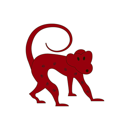 Chinese zodiac symbol red monkey made by traditional Chinese paper cut arts. Isolated on white background. Vector es10 illustration. Illustration