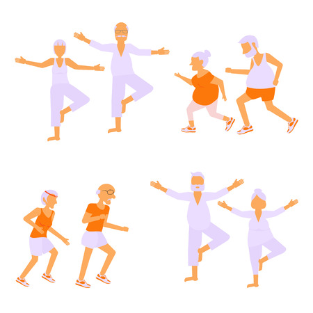 retiree: Set of Elderly people doing exercises in different poses. Healthy active lifestyle retiree. Sport for grandparents, elder fitness, yoga for Seniors isolated on white background. Illustration