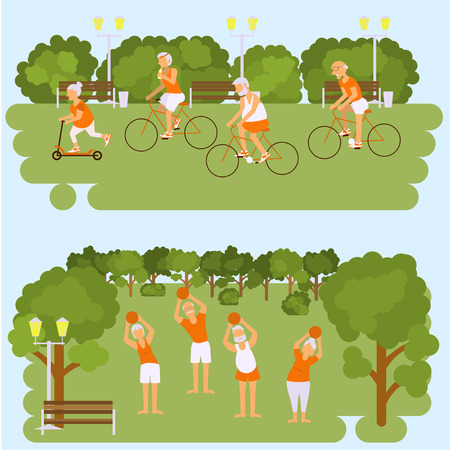 Elderly people doing exercises in different poses. Healthy active lifestyle retiree. Sport for grandparents, elder fitness, cycling for Seniors in park. Isolated