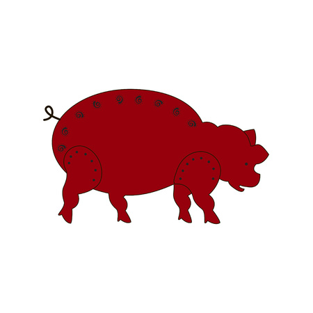 Chinese zodiac symbol red pig made by traditional Chinese paper cut arts. Isolated on white background. Vector es10 illustration.