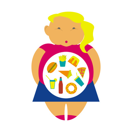 Obesity infographic template - junk fast food, childhood overweight elements, fat kids. Diet and lifestyle data visualization concept poster. Illustration