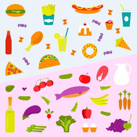 Une alimentation saine et un fond de restauration rapide pour votre design. Élément de mode de vie sain et malsain et icône pour bannière, modèle, site Web. Vecteurs