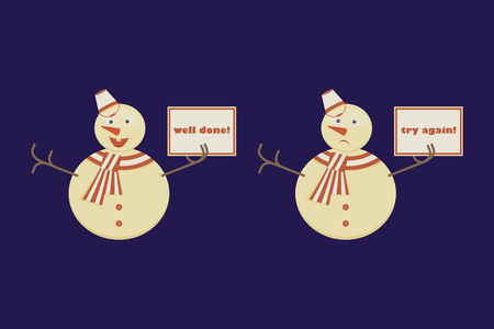 Funny Cartoon Character, Snowman shows Right and Wrong Signs. Try again and well done signals. Vector Illustration