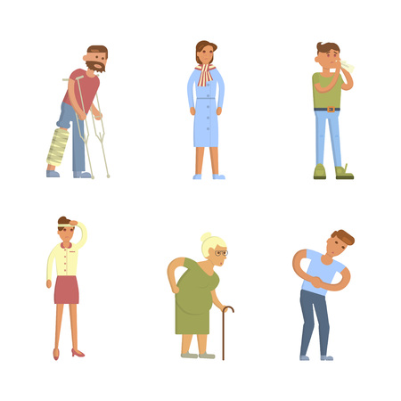 Sick people characters set with men and women. Allergy, broken leg, stomach pains, coughing, blowing, sneezing isolated vector illustration Illustration