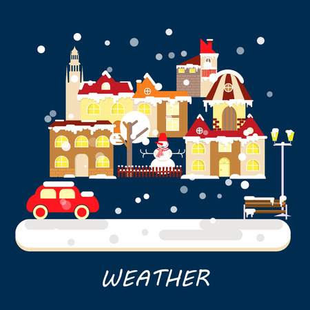 Winter weather colorful landscape banner. Snowy Small town at Christmas landscape in flat style. Vector illustration Illustration
