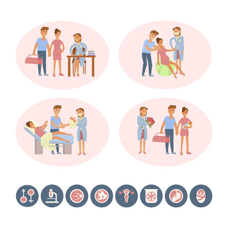 maternity ward: The process of giving birth concepts set and icons. Woman during childbirth, family in the maternity ward, obstetrician is delivering a child. Vector illustration for infographic