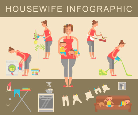homemaker: Set of housewife in funny cartoon style for infographic.  Homemaker cleaning ironing cooking wash and child rearing vector illustration.