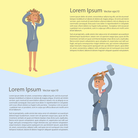 frenzy: Business problem concepts flyer. Business person in stress. Vector Character design.
