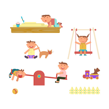 Playground infographic elements vector flat illustration, children play on the outdoors, in the sandbox, boys and girls go for a drive on a swing. Funny cartoon character. Vector illustration Illustration