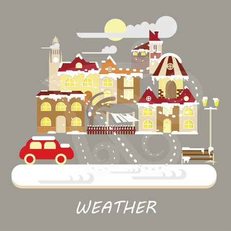Winter snowstorm weather colorful landscape banner. Snowy Small town at Christmas landscape in flat style. Vector illustration