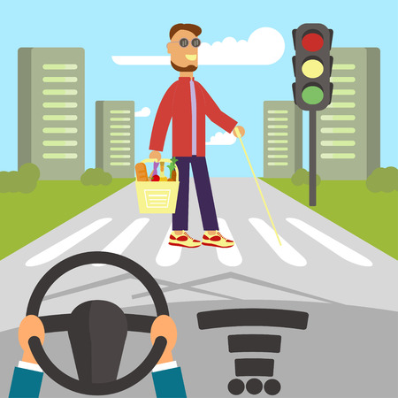 crossing street: A blind man with walking stick is crossing street. Human hands driving a car on asphalt road with disability person walking on the crosswalk, car interior, flat design vector illustration.