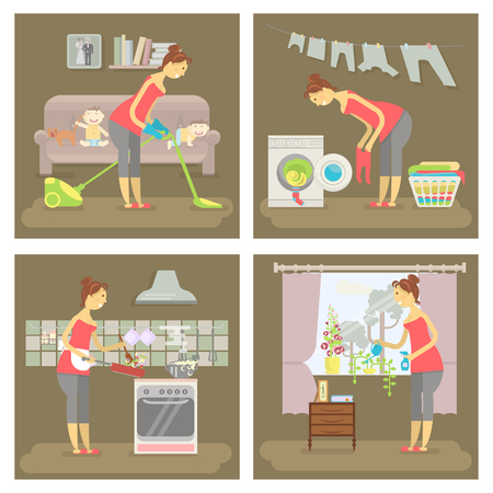 Set of housewife in funny cartoon style for infographic. Homemaker is cleaning, ironing, cooking, wash and child rearing vector illustration. Vettoriali