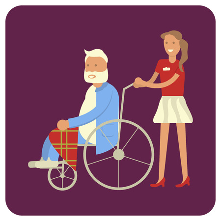 Young woman strolling with his grandpa in wheelchair. Flat style vector illustration isolated.