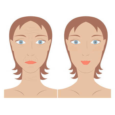 retouch: Vector illustration of beauty and skin care woman face before and after rejuvenation facelift. Concept of skin aging. Portrait of Young and old person.