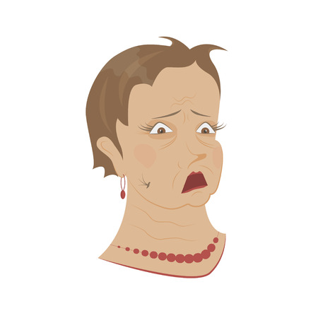 Old womans portrait isolated on white background. scared Pensioner, grandmother afraid . Expression of emotion on his face. Vector illustration