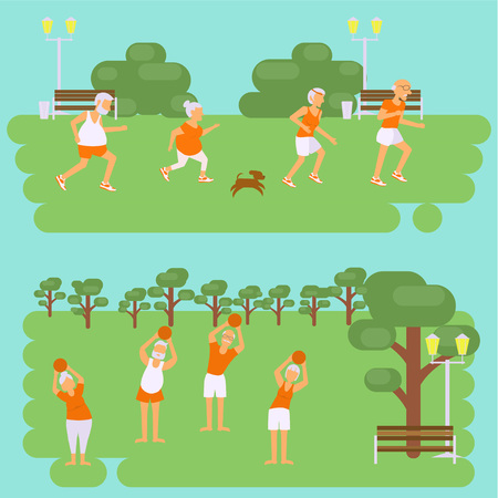 retiree: Banners Elderly people doing exercises. Healthy lifestyle, active lifestyle retiree. Sport for grandparents, elder Yoga and Race for Seniors in park. Vector illustration eps10