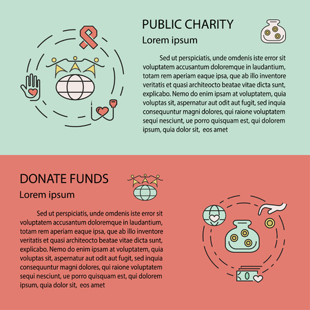 voluntary: Charity and donation concept set for web banners, printed materials, infographics, websites. Creative icons in thin line flat design. Vector illustration eps10