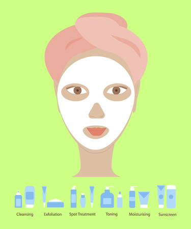 Beautiful woman with white cleans mask on her face. Clean skin, cosmetics concept, fresh healthy face, beautiful model. Flat design element for spa or beauty salon poster