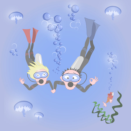 para: Man and woman together dive, vector