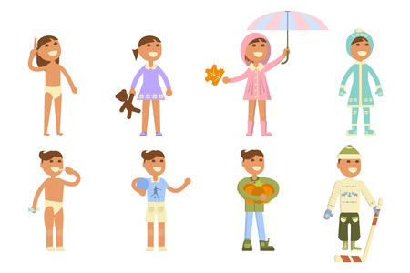 Set with babies. Different weather. Flat design, boy and girl in apparel of various seasons. Cartoon characters, illustration vector