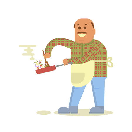 Fat bald man with frying pan in hand cooking . Isolated on white background. Vector flat design illustration. Illustration